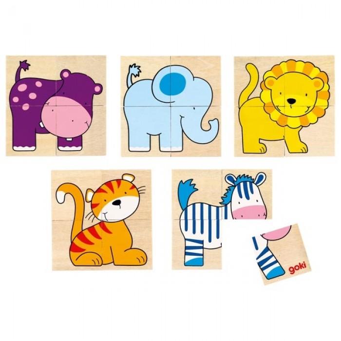 Set mini puzzle din lemn 5 imagini animalute 20 piese Goki