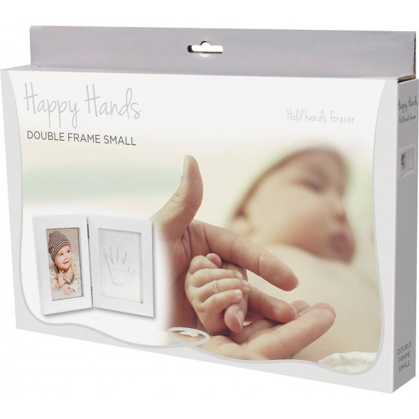 Happy Hands - Kit rama foto dubla cu amprenta mulaj manuta sau piciorus krbaby.ro