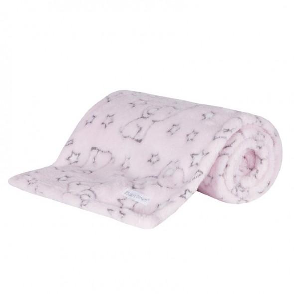 Paturica bebe roz cu elefantei Baby Town krbaby.ro