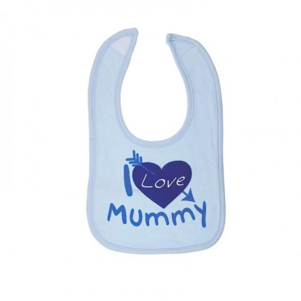 Baveta I love mummy bleu