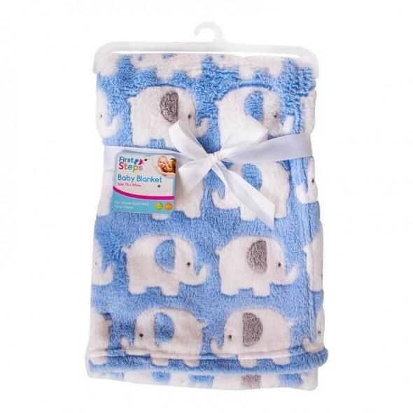 Paturica bebe moale bleu cu elefantei First Steps