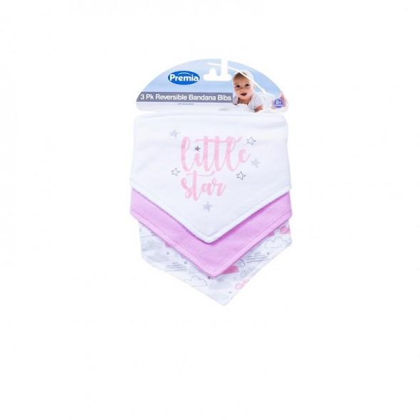 Set 3 bavete tip bandana Little Star roz