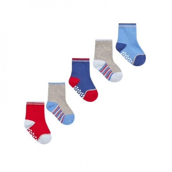 Set 5 perechi sosete antiderapante multicolore pentru bebelusi