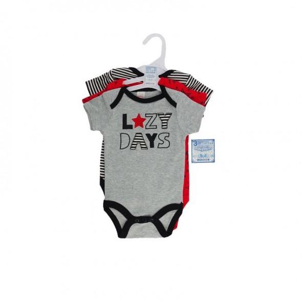 Set cadou 3 body pentru baieti model Lazy Days Soft Touch