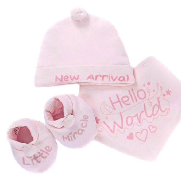 Set cadou 3 piese roz Hello World