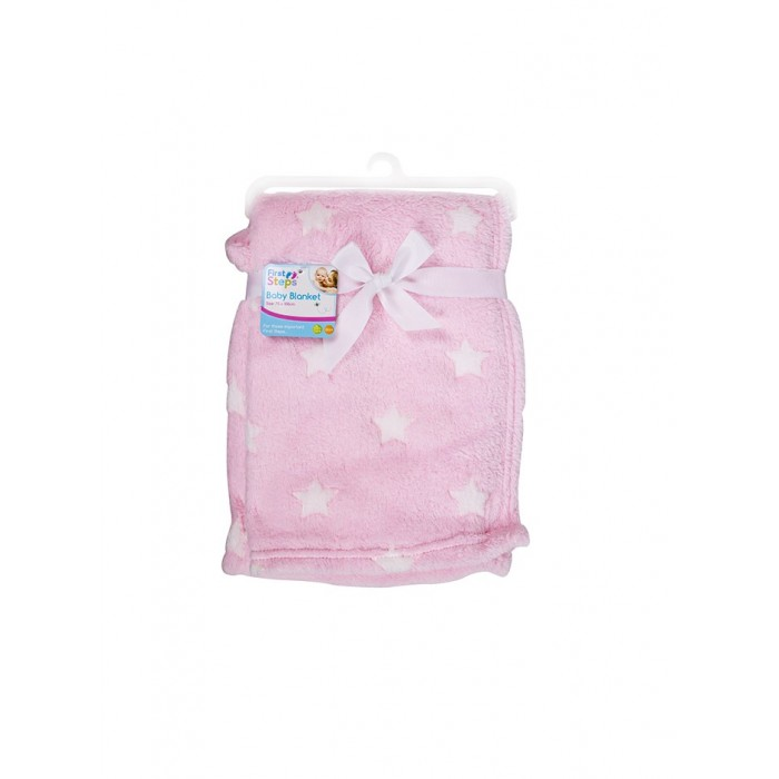Paturica bebe roz cu stelute First Steps