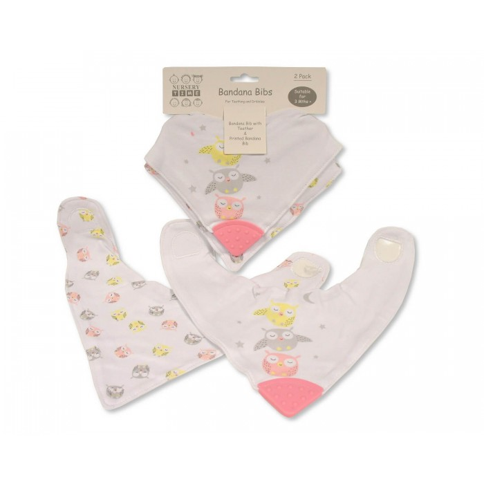 Set 2 bavete tip bandana cu element dentitie pentru fetite