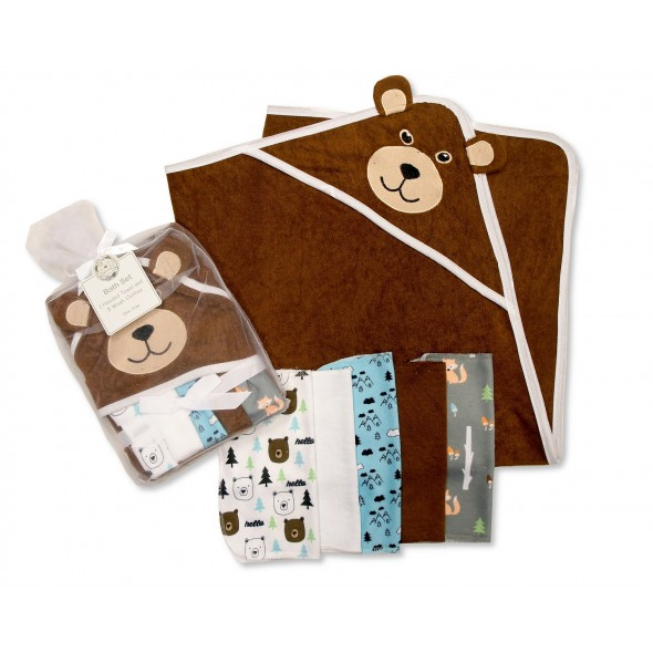 Set cadou prosop de baie cu gluga si mini prosopele cu ursulet