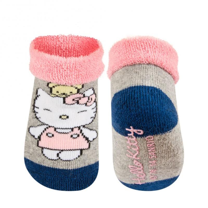 Sosete bebe Hello Kitty - gri cu roz