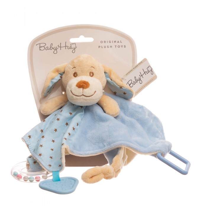 Baby Hug - Catelus bleu cu zornaitoare, paturica, inel si jucarie dentitie