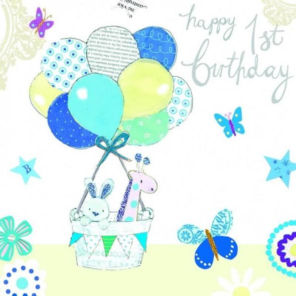 Felicitare Baby's 1st Birthday bleu