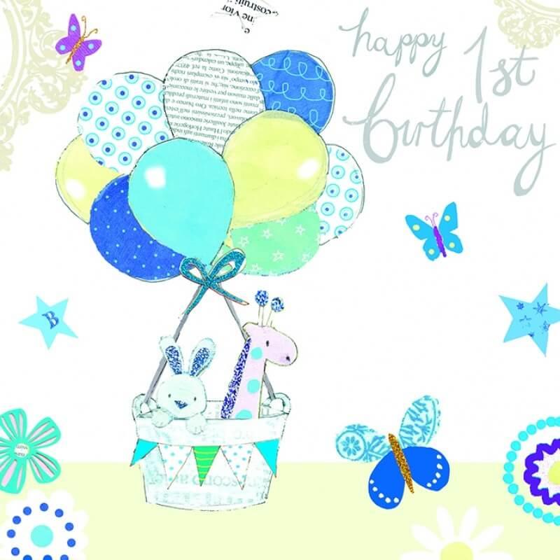 Felicitare Babys 1st Birthday bleu krbaby.ro