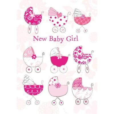 Felicitare carucior New Baby Girl