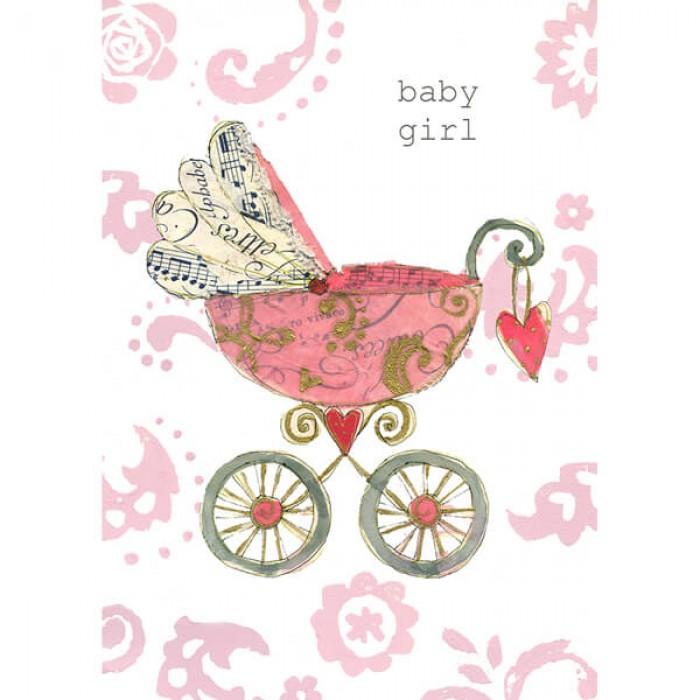 Felicitare carucior pentru fetita