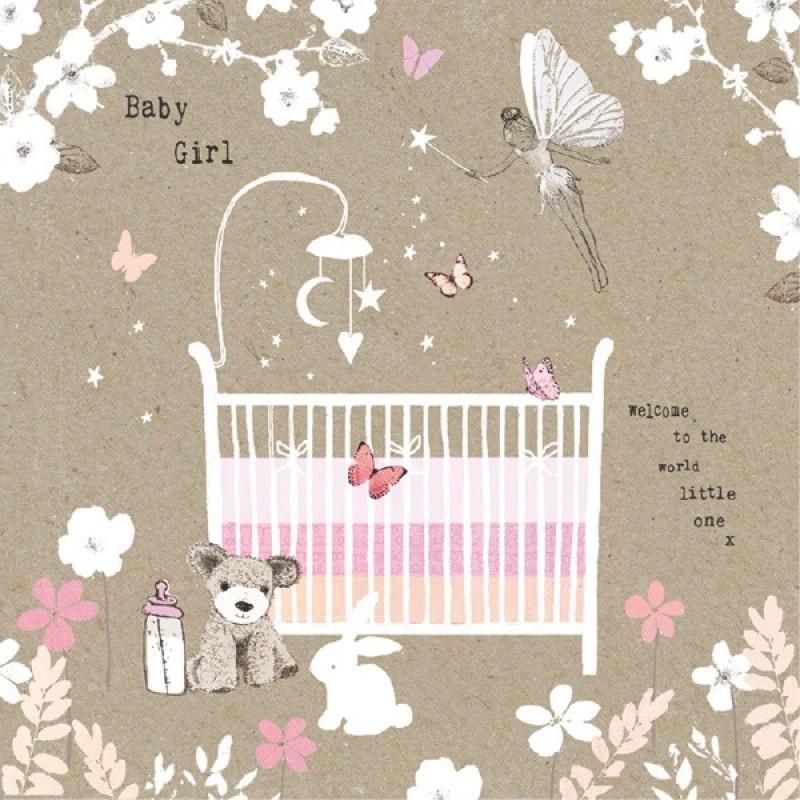 Felicitare vintage patut Baby Girl krbaby.ro