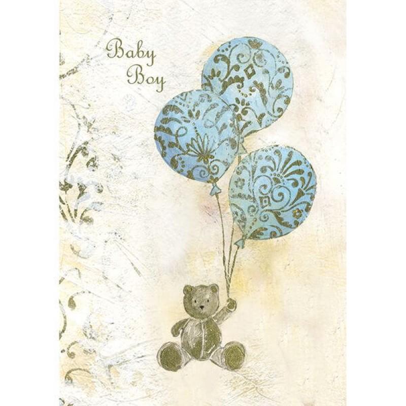 Felicitare vintage Teddy Balloon blue krbaby.ro