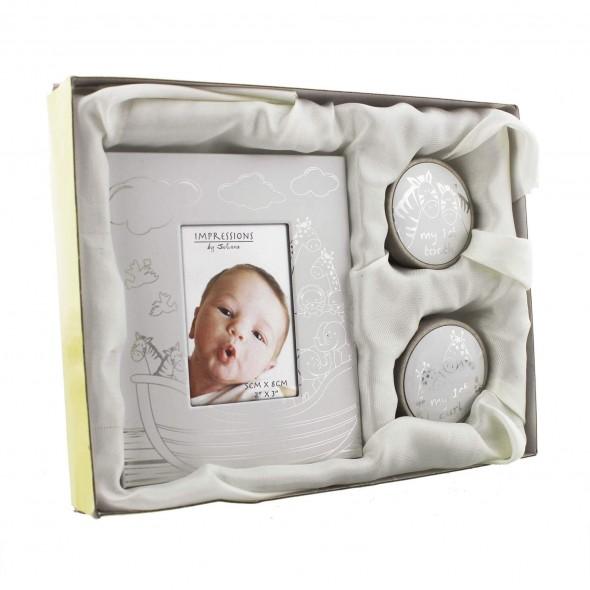 Juliana - Set cadou rama foto, cutiuta prima suvita si cutiuta primul dintisor Arca - ambalaj deteriorat
