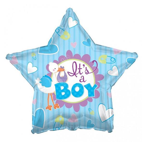 Balon din folie barza bleu It is a Boy 45 cm
