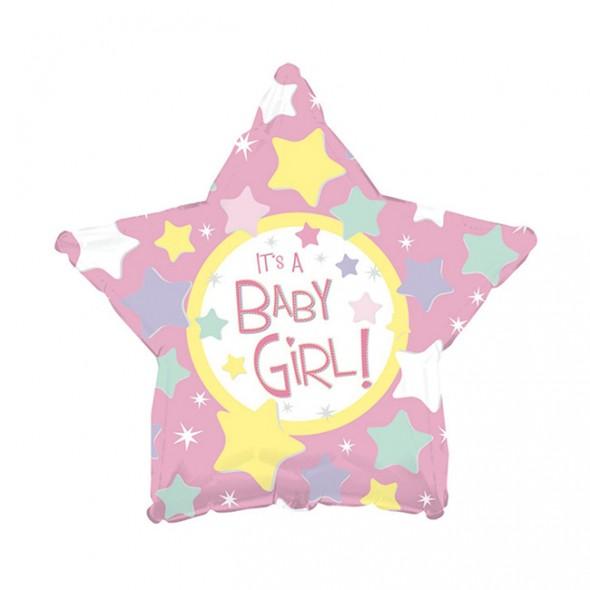 Balon din folie stea roz It is a Girl 45 cm