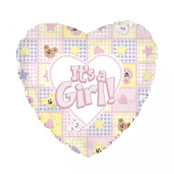 Balon din folie ursuleti si iepurasi It is a Girl 45 cm