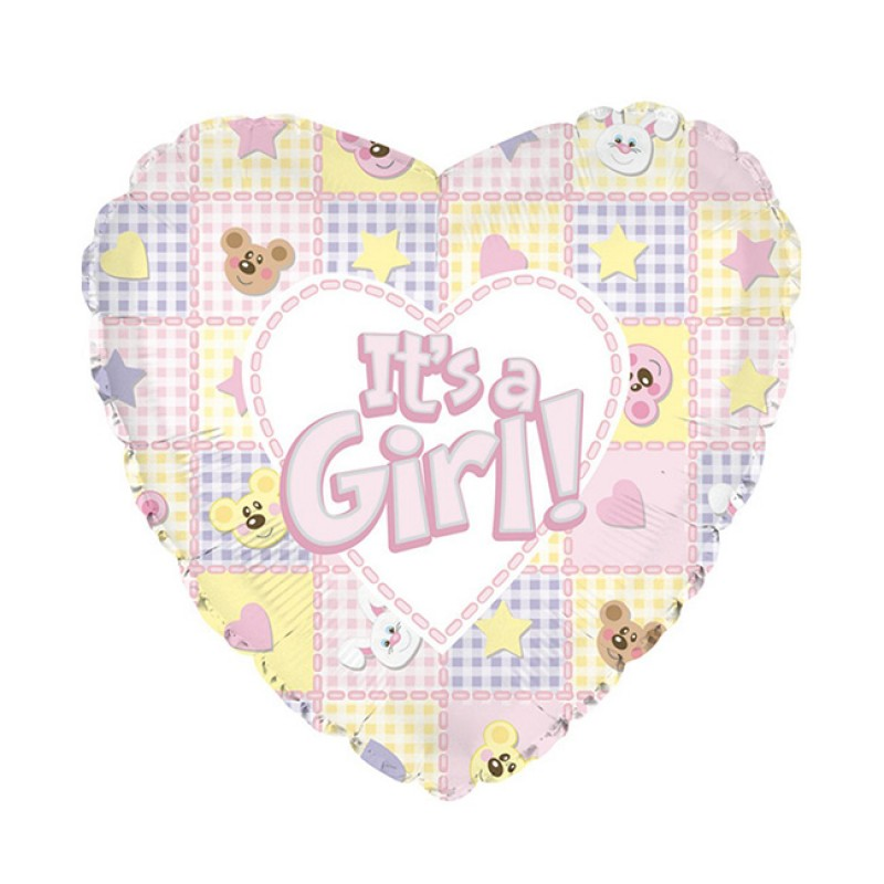 Balon din folie ursuleti si iepurasi It is a Girl 45 cm krbaby.ro
