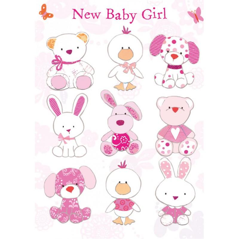 Felicitare animalute haioase New Baby Girl krbaby.ro