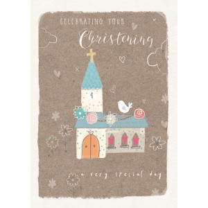 Felicitare botez Christening Day - model bisericuta