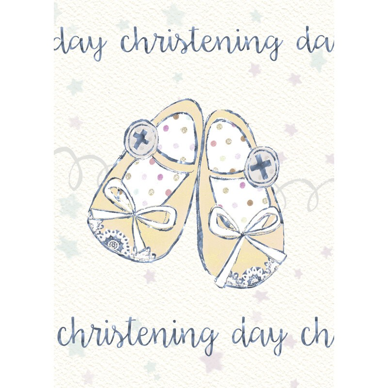 Felicitare botez Christening Day - model pantofiori krbaby.ro