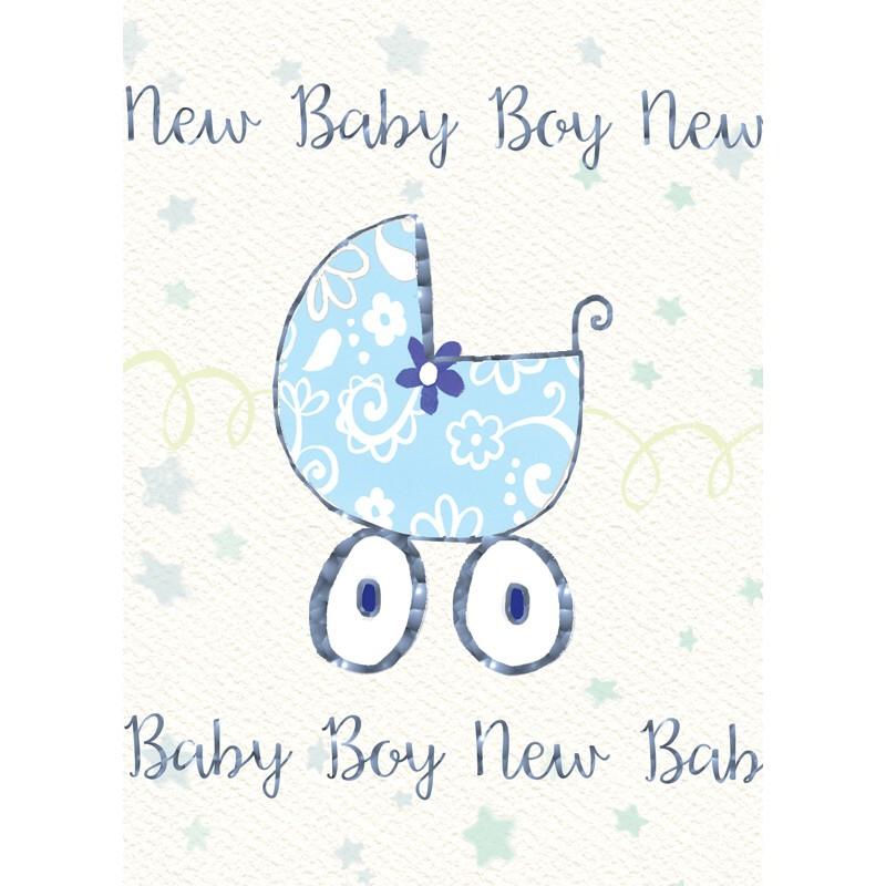 Felicitare cu floare si carucior New Baby Boy krbaby.ro