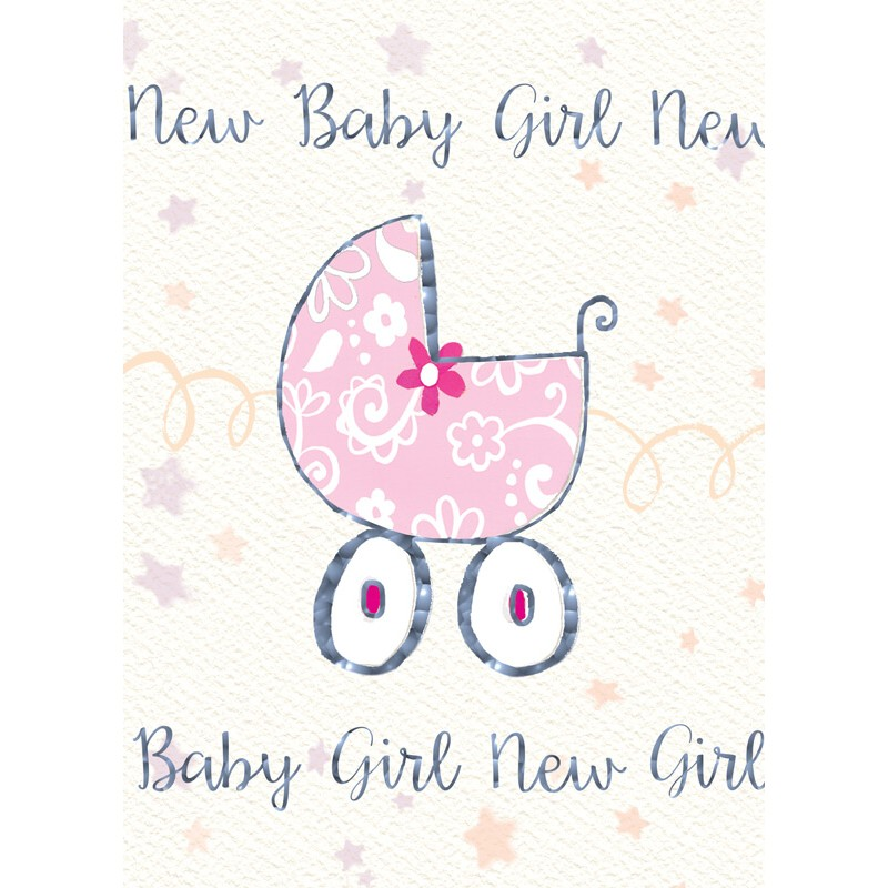 Felicitare cu floare si carucior New Baby Girl krbaby.ro