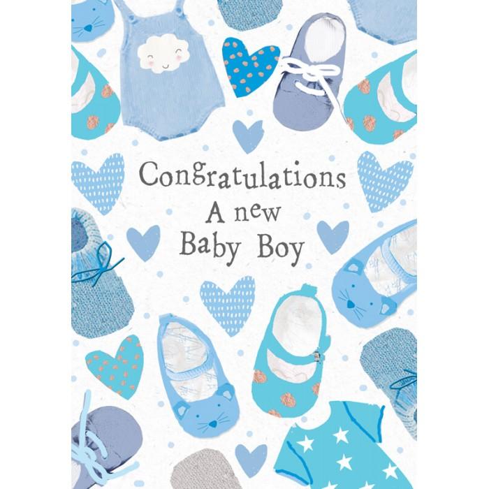 Felicitare cu pantofiori New Baby Boy