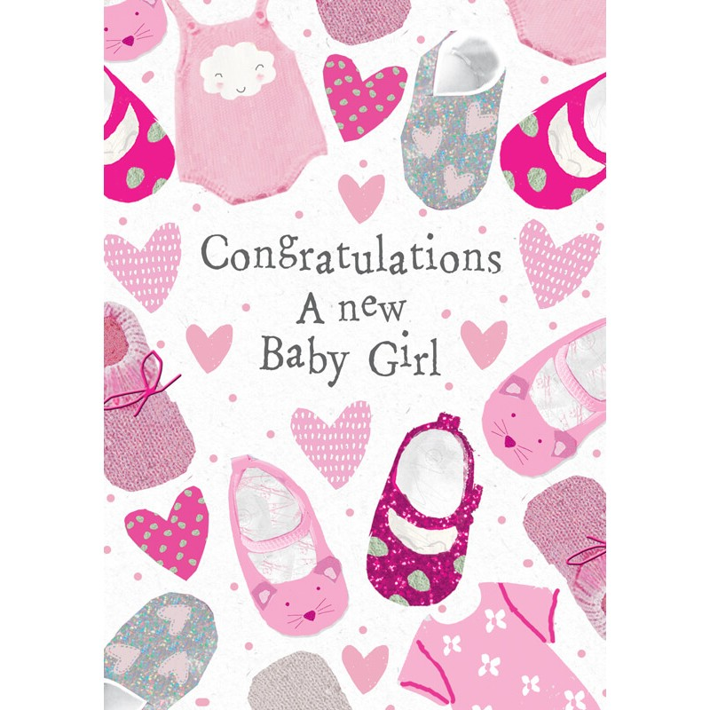 Felicitare cu pantofiori New Baby Girl krbaby.ro