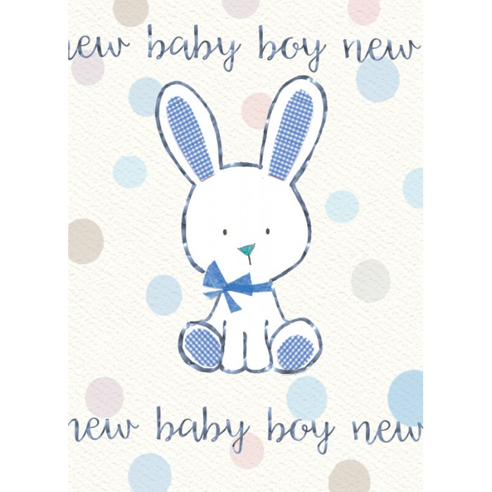 Felicitare iepuras New Baby Boy