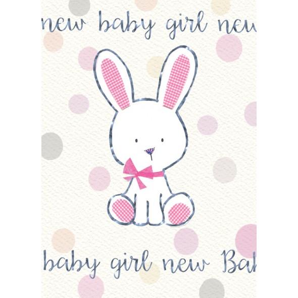 Felicitare iepuras New Baby Girl