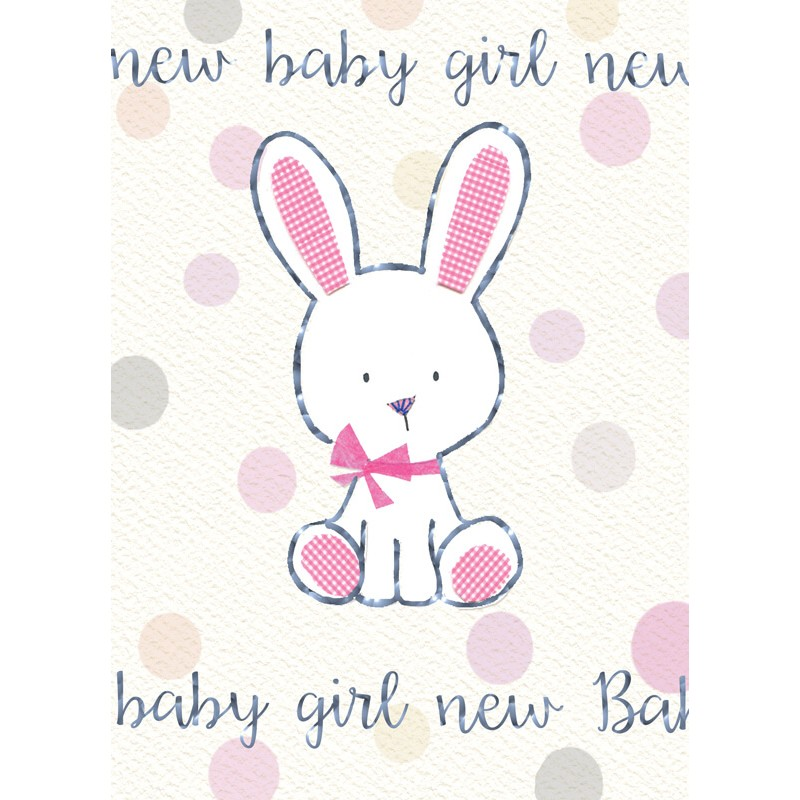 Felicitare iepuras New Baby Girl krbaby.ro