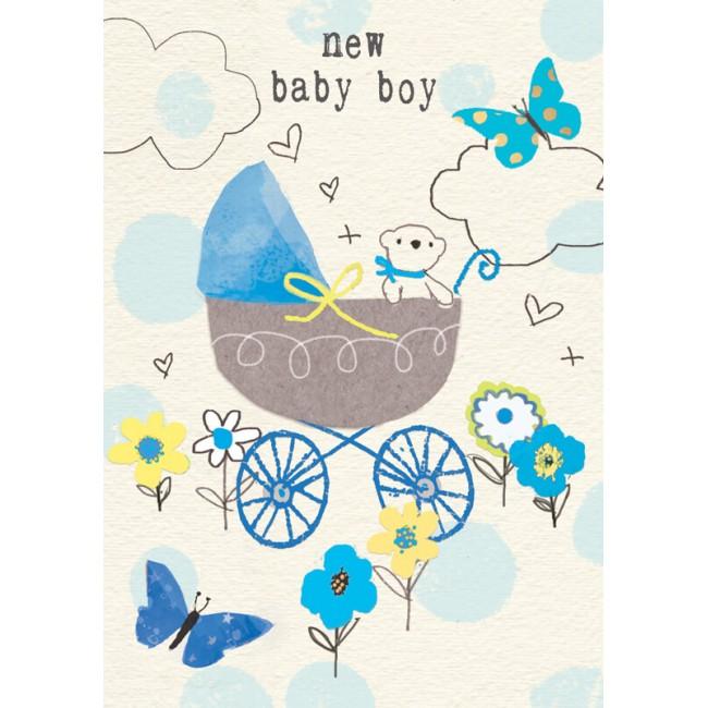 Felicitare ursulet si carucior New Baby Boy