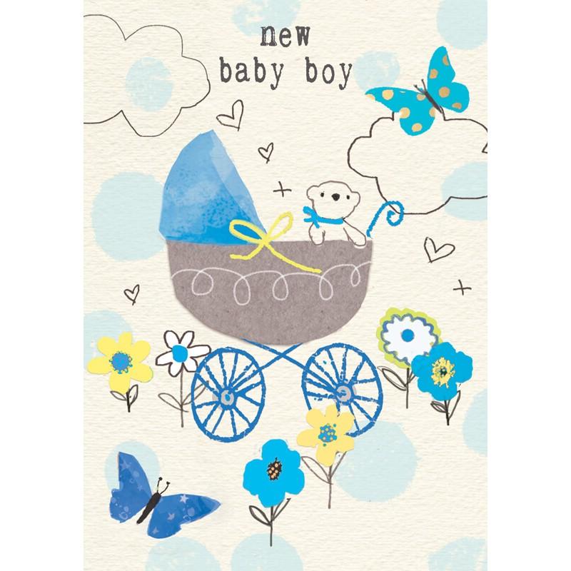 Felicitare ursulet si carucior New Baby Boy krbaby.ro