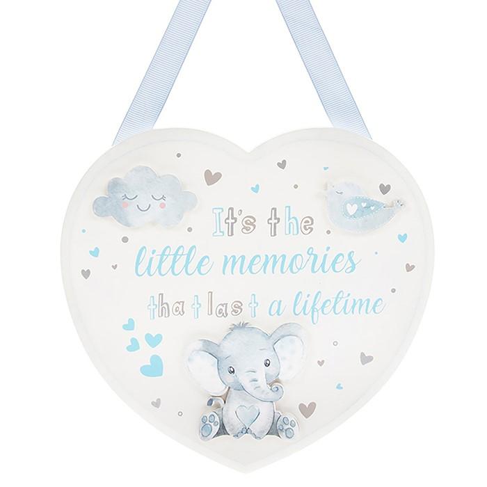 Placuta inimioara bleu cu elefantel si mesaj