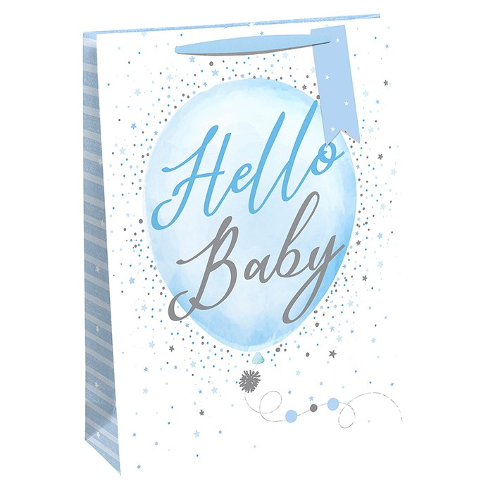 Punga de cadou cu baloane Hello Baby Boy mare