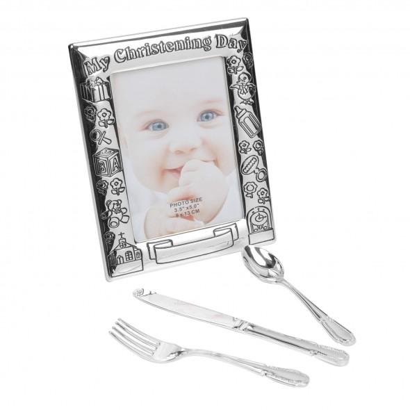 Juliana - Set cadou pentru botez cu tacamuri si rama foto