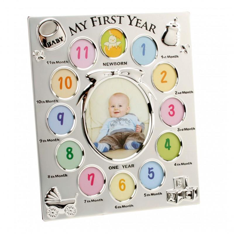 Rama foto argintata cu spatii colorate Babys First Year - ambalaj deteriorat krbaby.ro