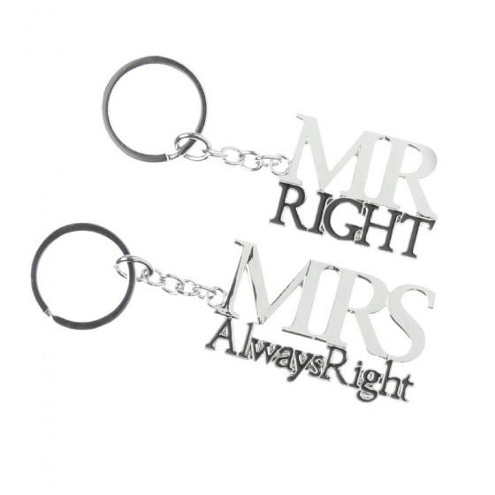 Amore - Set brelocuri argintate Mr and Mrs Right