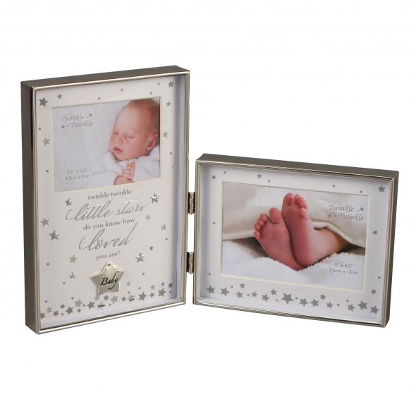 Twinkle Twinkle - Rama foto dubla argintata baby