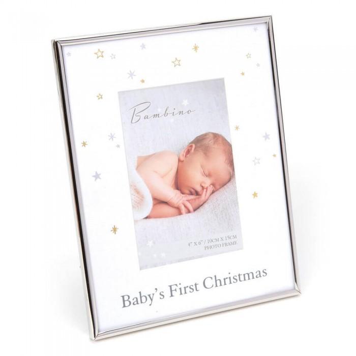 Bambino by Juliana - Rama foto cu margini argintate pentru primul Craciun