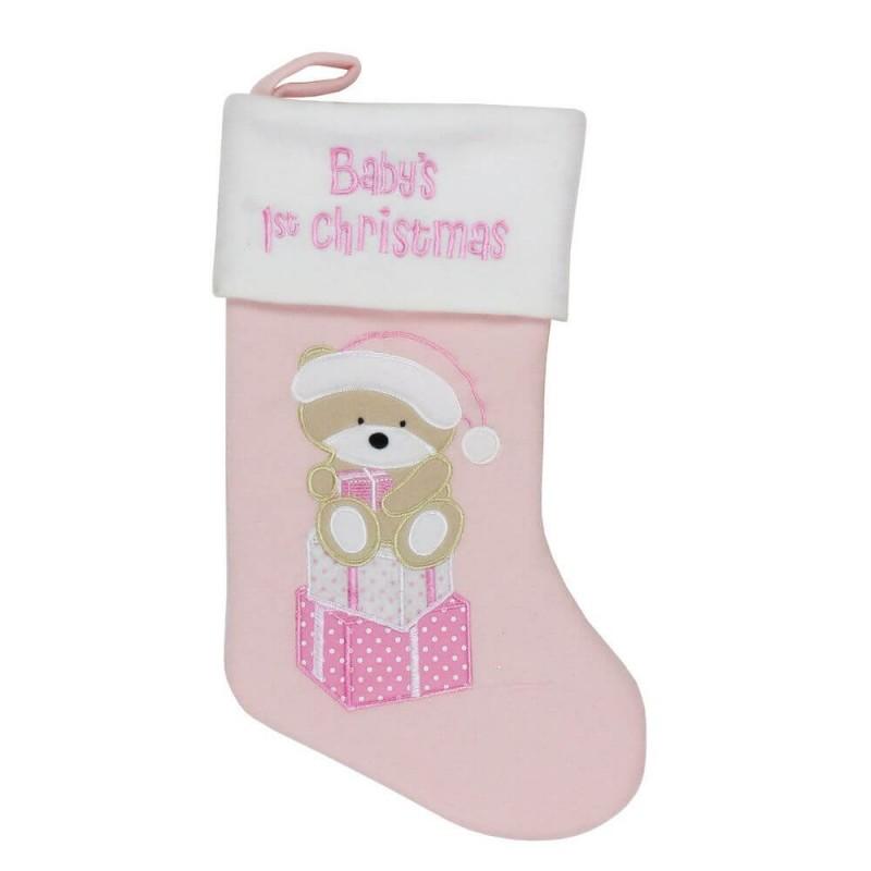 Cizmulita roz pentru cadouri primul Craciun al bebelusului krbaby.ro