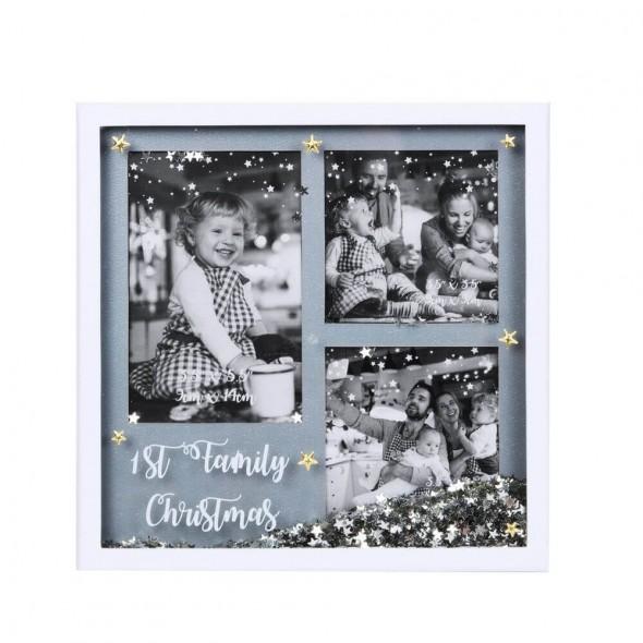 Rama foto cu confetti pentru primul Craciun in familie