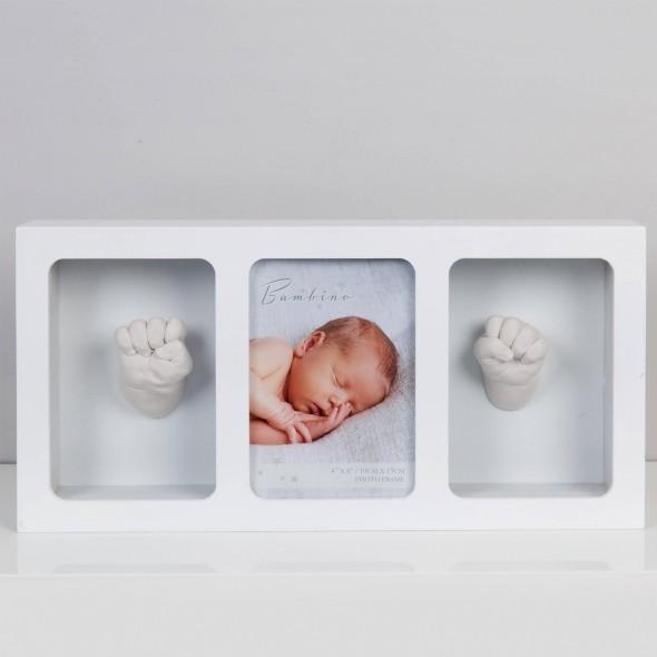 Bambino by Juliana - Rama foto alba cu amprenta manuta si piciorus 3D