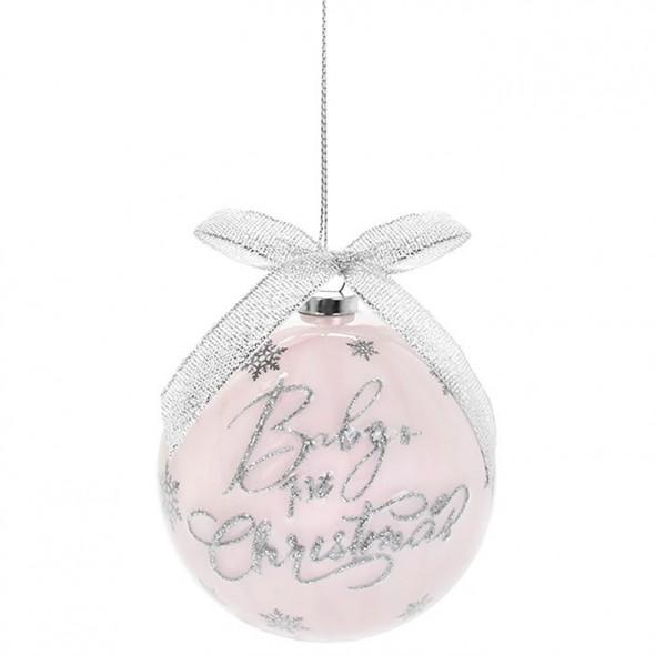 Glob roz din polifoam pentru primul Craciun al bebelusului