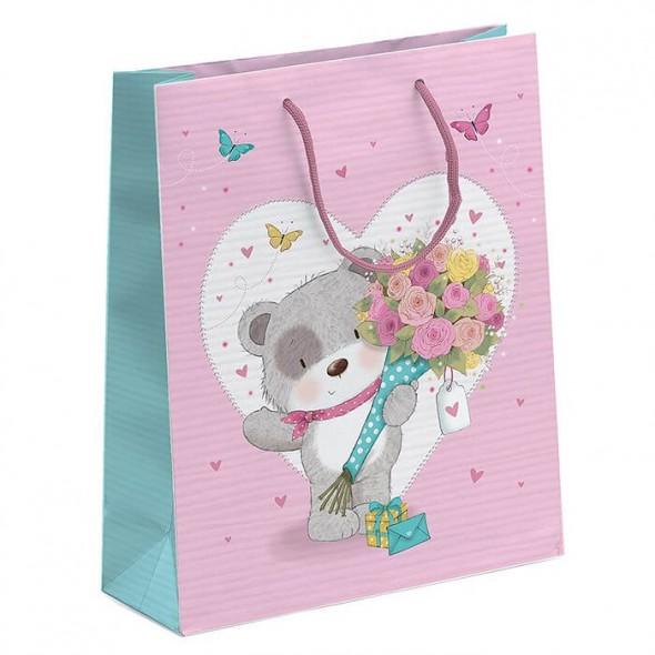 Punga de cadou mica ursulet cu flori