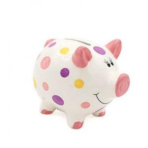 Pusculita porcusor cu buline colorate pentru fetita